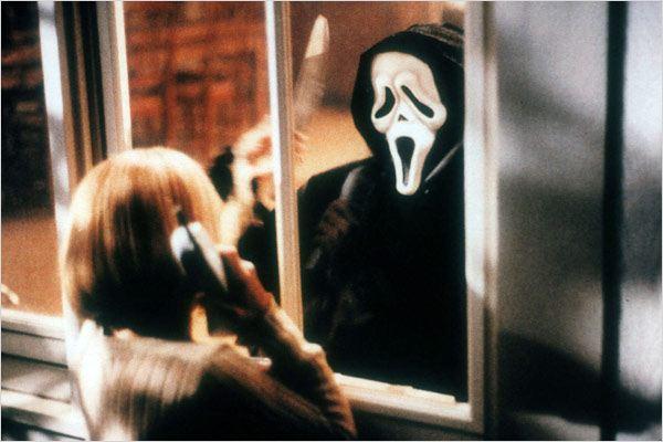 Scream : photo Drew Barrymore, Wes Craven